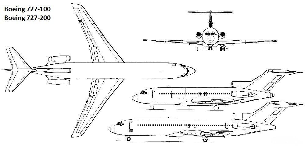 Чертеж-схема Боинга 727