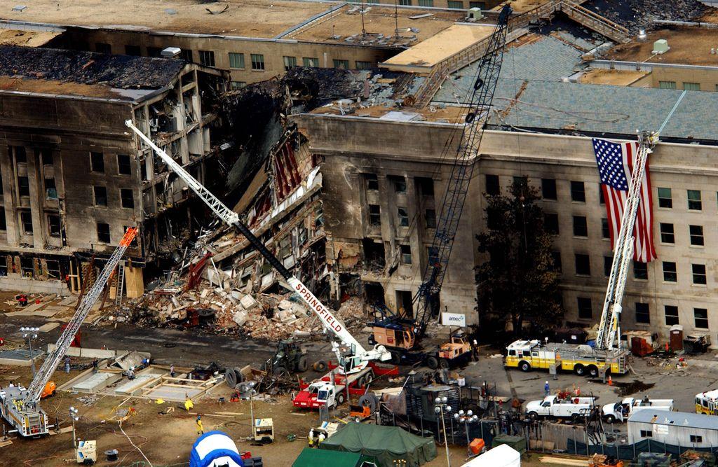 Разрушенный участок здания Пентагона