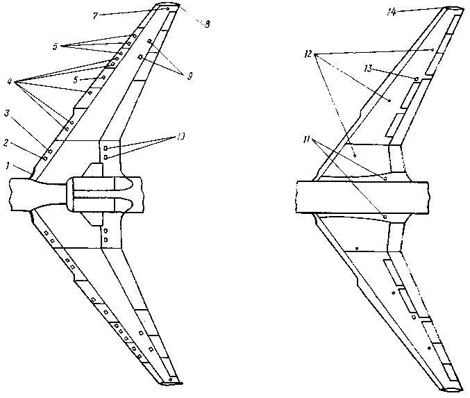 Схема крыла самолета Ил-62