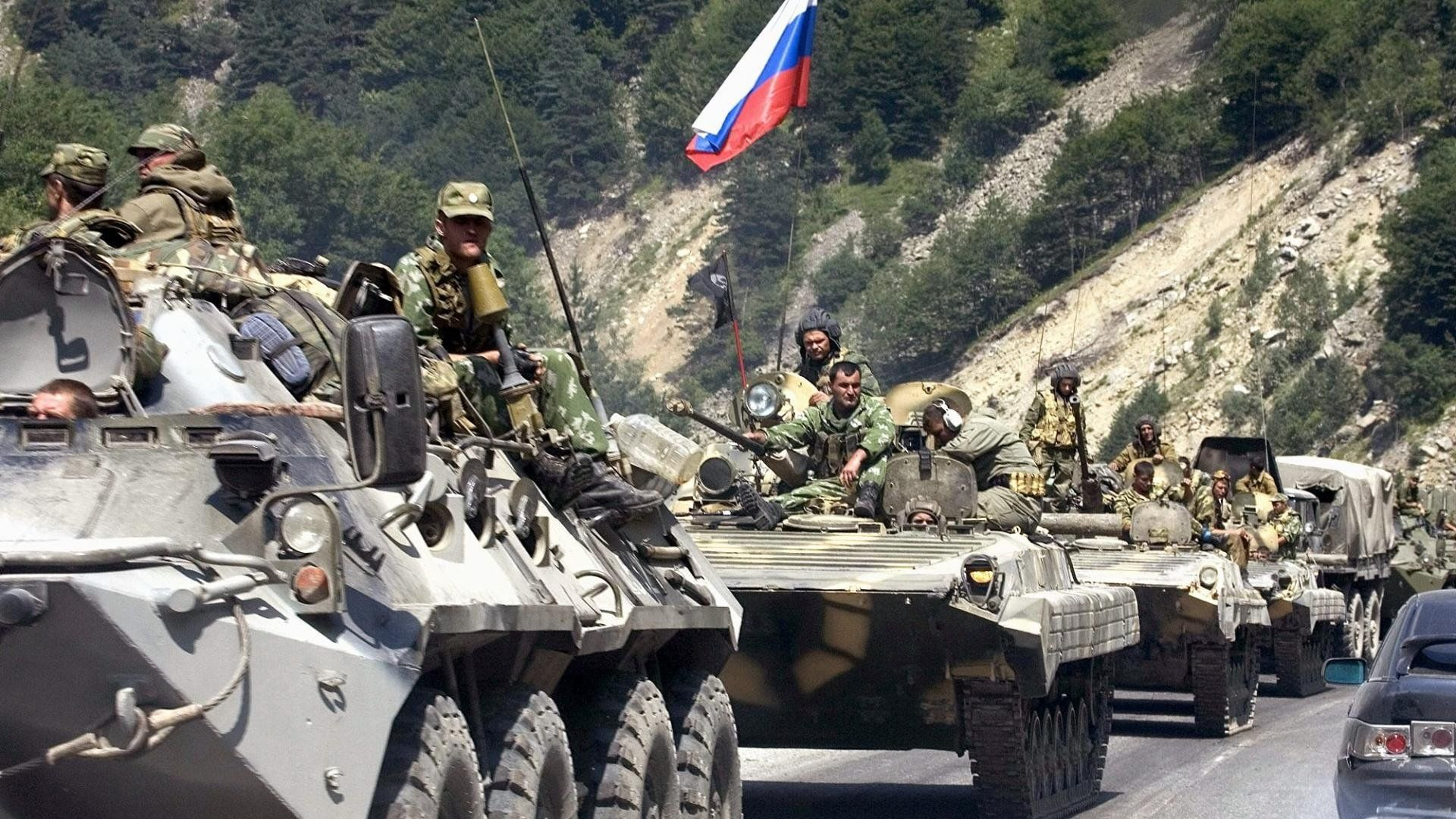 Колонна бронетехники, Южная Осетия