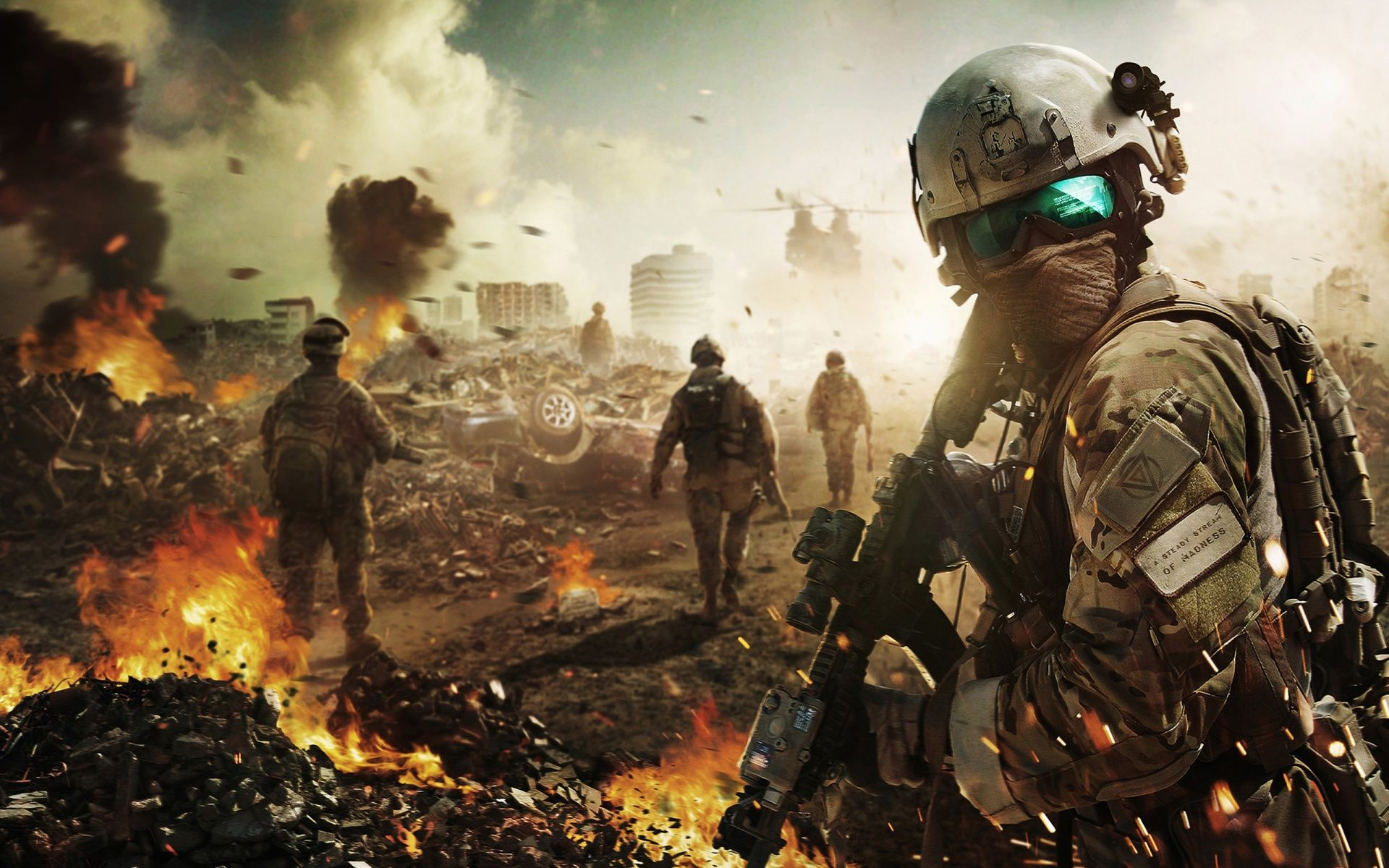 Солдаты в разрушенном городе