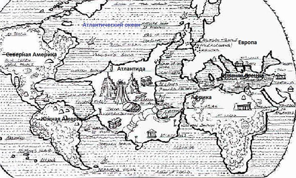 Древняя карта Атлантики