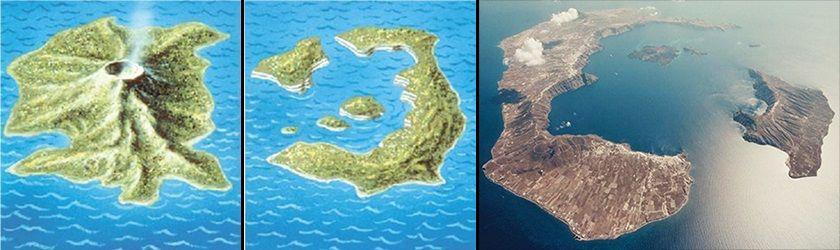 Остров Тира до извержения и после