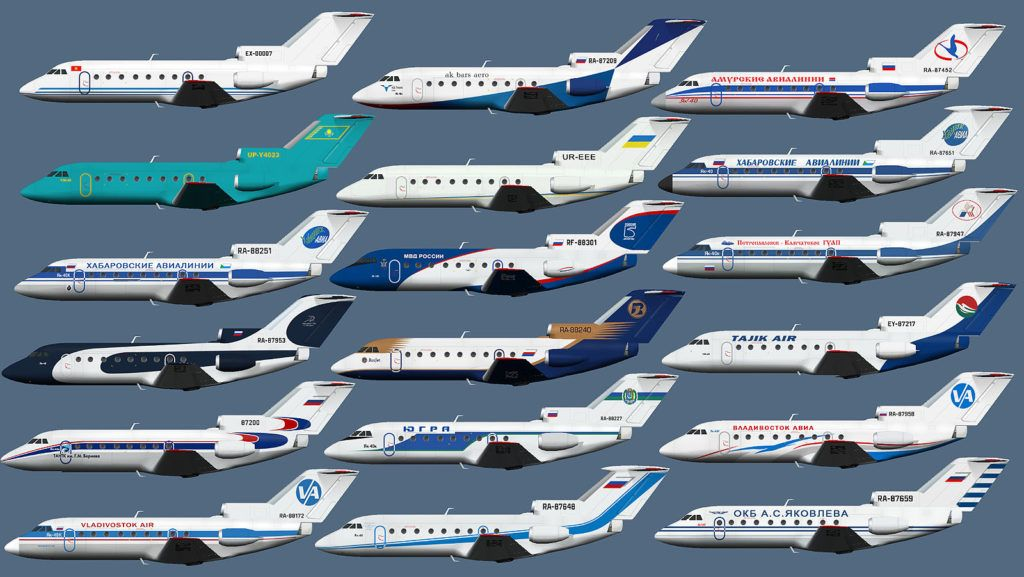 Як-40 разных авиакомпаний
