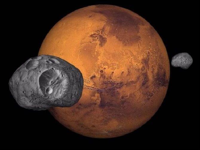 Спутники в марсианском небе