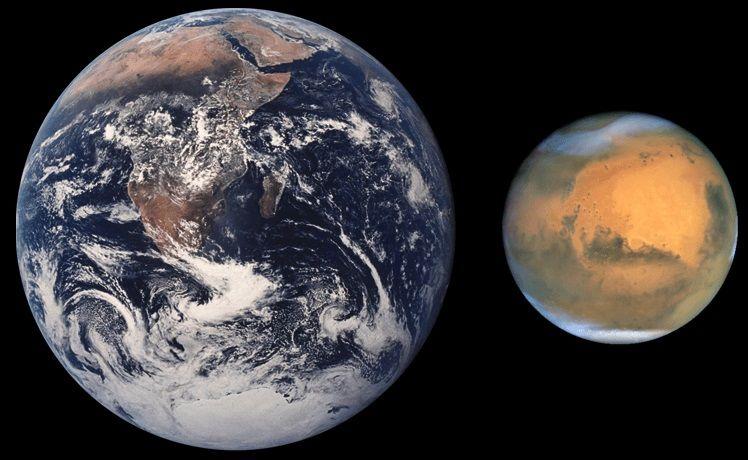 Сравнение Марса и Земли