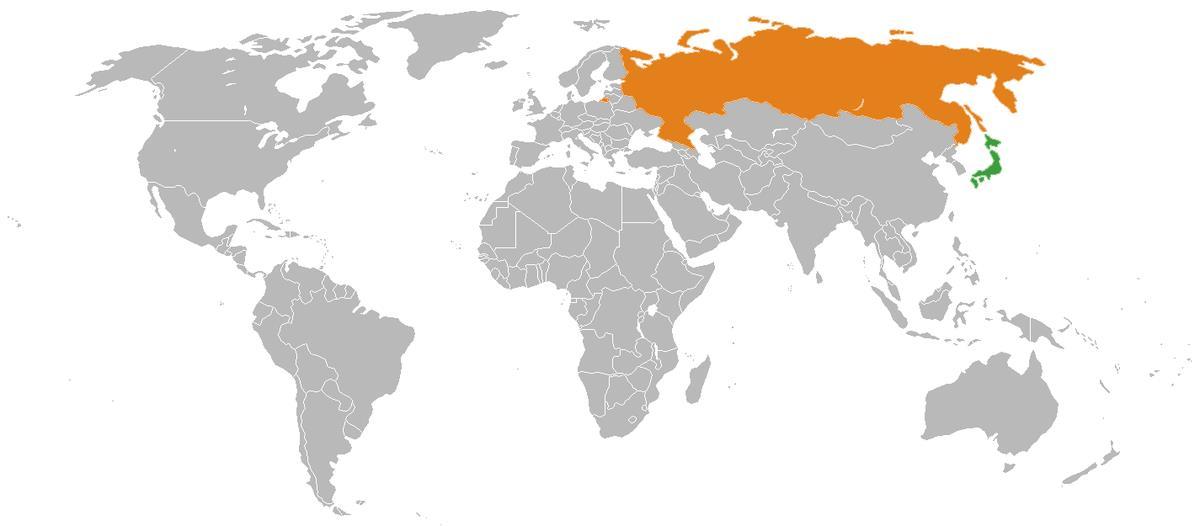 Россия и Япония на карте
