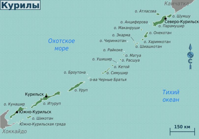 Карта Курил