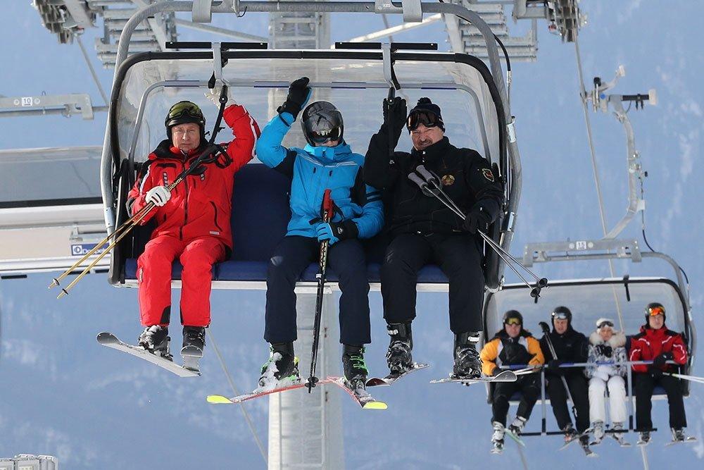 Лукашенко и Путин с лыжами