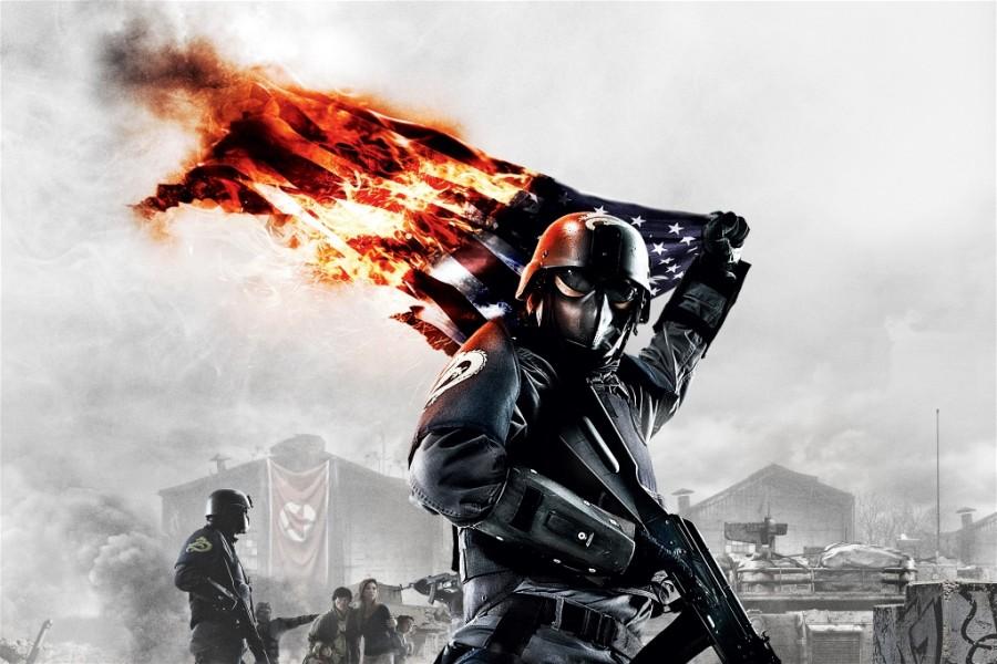 Горящий флаг США