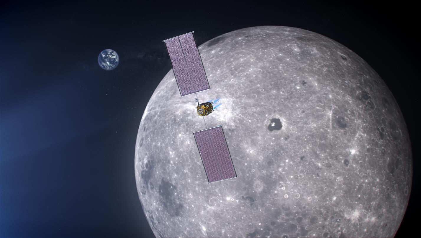 Космический аппарат на фоне Луны