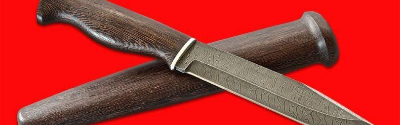 Профессиональный таежный охотничий нож, клинок дамасская сталь с рукоятью венге