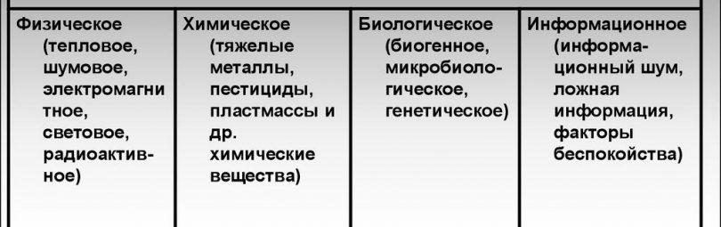 Основное типологическое разделение видов загрязнений