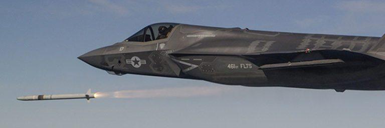 Пуск ракеты с F-35