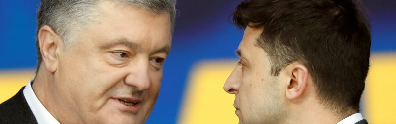 Ukraine's President and presidential candidate Petro Poroshenko attends a policy debate with his rival, comedian Volodymyr Zelenskiy, at the National Sports Complex Olimpiyskiy stadium in Kiev, Ukraine April 19, 2019.  REUTERS/Valentyn Ogirenko - RC177A4A44B0